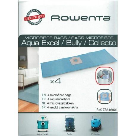 SACS MICROFIBRE (x4) POUR ASPIRATEUR GAMME AQUA EXCEL, BULLY & COLLECTO ROWENTA