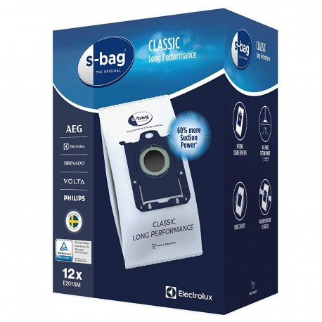 S-BAG CLAS E201SM LONG PERFORMANCE x12 POUR ASPIRATEUR ELECTROLUX - PHILIPS - AEG - VOLTA - TORNADO